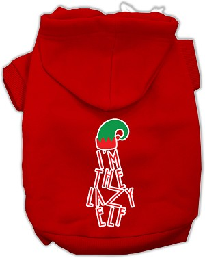 Lazy Elf Screen Print Pet Hoodie Red Lg (14)